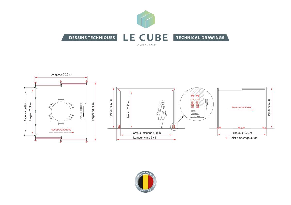 Les plans d'un cube et espace privatif pour l'horeca